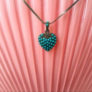 Vintage Silver and Pavè Turquoise Heart Necklace